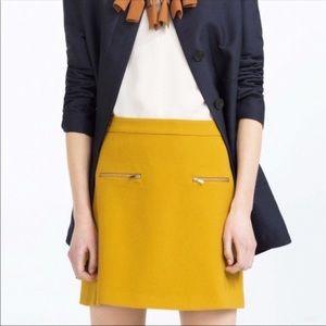 Zara mustard gold a line zipper skirt XS